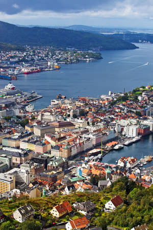Bergen city in Norway view from hill. photo