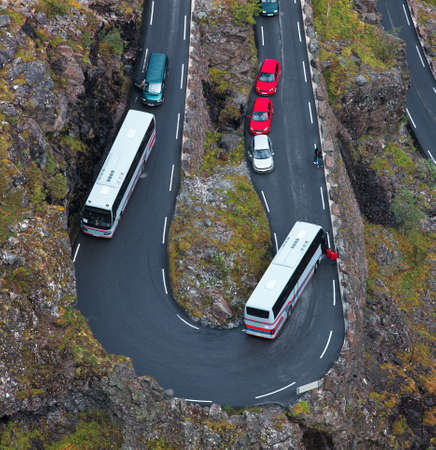 malfunction: Jam on a mountain road. Due to malfunction of the bus.