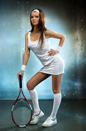 Young sexy tennis player woman  photo