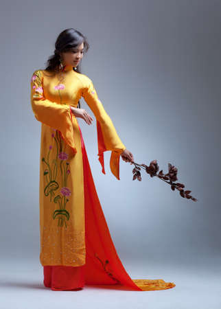 Young elegant asian woman in traditional clothing Stock Photo - 16334140