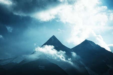 grossglockner: Grossglockner mountain in Alps  Soft blue tint
