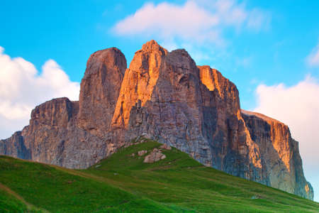 dolomites: Mountains in Dolomites Italy at sunset.
