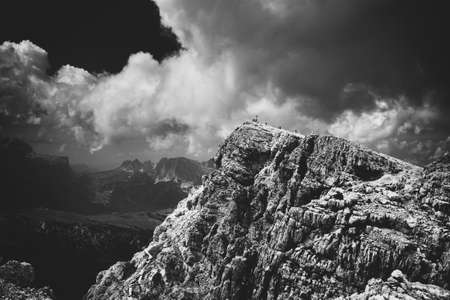 Mountain in Dolomites Italy  Black and white film style colors  photo