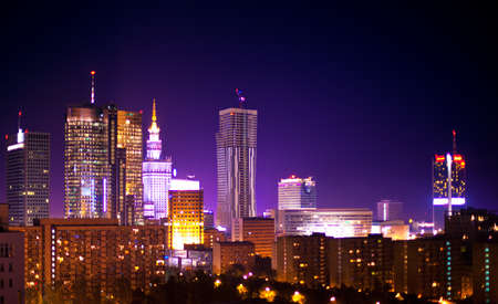 poland: Warsaw Poland city at night  Stock Photo