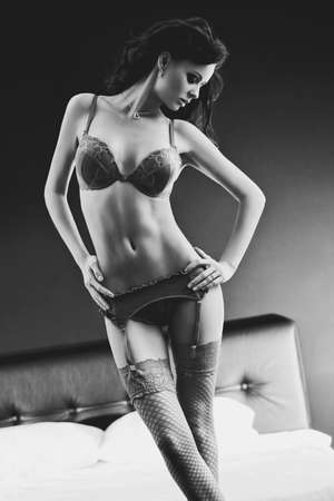 Young sexy woman  Black and white film style colors  photo