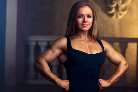 Young woman bodybuilder portrait  photo
