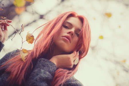 Young woman outdoors autumn portrait