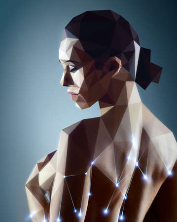 Woman portrait. Real woman digitizing to robot style painting. photo