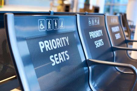 Priority seats in airport  Standard-Bild
