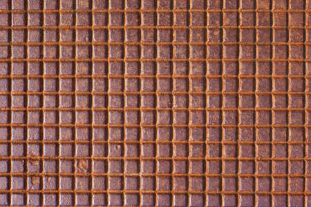 chequer: Rusty tiled metal texture or background. Stock Photo