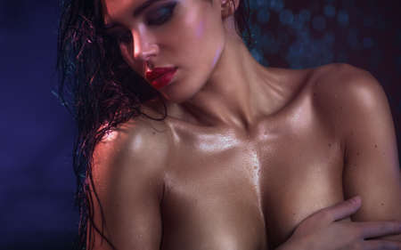 Young sexy wet woman portrait  photo