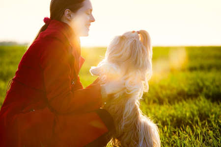 Young woman with favorite dog at sunset light  Stock Photo