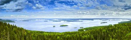 finland: Pielinen lake in Finland summer panorama. Stock Photo