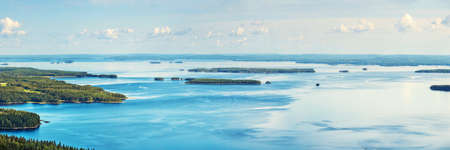 nature beauty: Pielinen lake in Finland summer panorama. Stock Photo