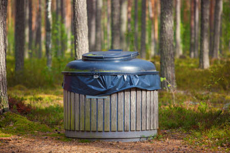 big bin: Big refuse bin in forest for tourists.