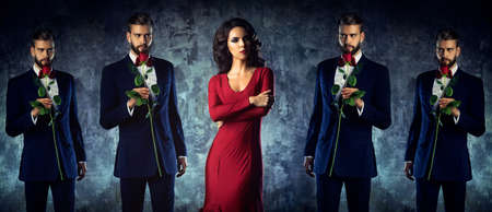 intrusive: Young woman and intrusive lover concept. Elegant evening clothing. Stock Photo