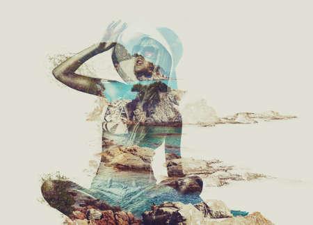 exposicion: Mujer joven en la playa tropical y el concepto de naturaleza retrato. Técnica de exposición doble. Foto de archivo