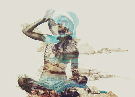multiple exposure: Young woman on beach and tropical nature concept portrait. Double exposure technique. Stock Photo