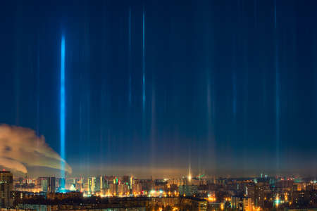 appears: Light poles natural phenomenon appears at cold weather over the city