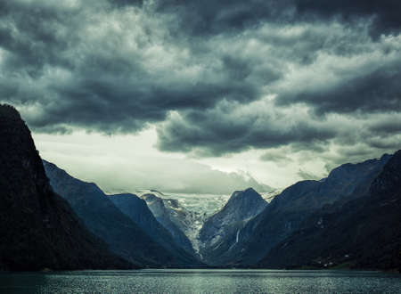 norway: Norway fjord severe landscape. Dramatic dark colors. Stock Photo