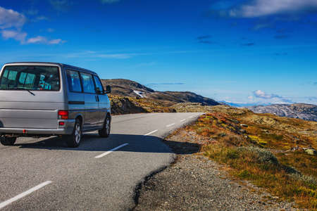 Mountains summer car travel in Norway