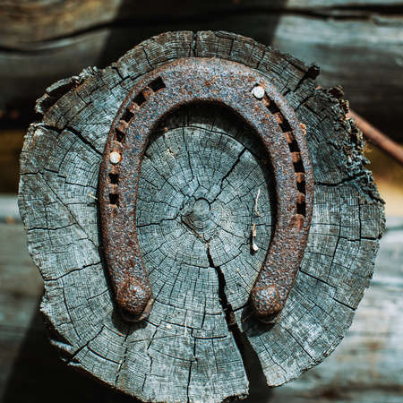 goodluck: Horseshoe on house log. As a symbol of luck.