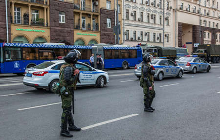 12 June 2017. Russia. Moscow. Tverskaya st. Meeting organized by Alexei Navalny against corruption in  government. Heavy armored police forces holding and prohibit any action of people. Editorial