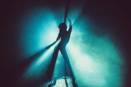 Young sexy slim pole dance woman silhouette in smoke and blue light 免版税图像