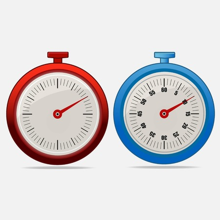 Red and blue realistic timers 10 seconds