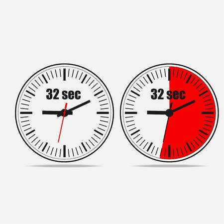 Thirty two Seconds Clock on gray background. Two options.