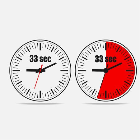 Thirty three Seconds Clock on gray background. Two options.
