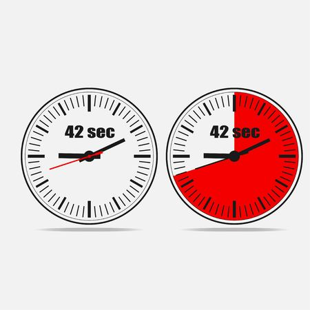 Fourty Two Seconds Clock on gray background. Two options. Çizim