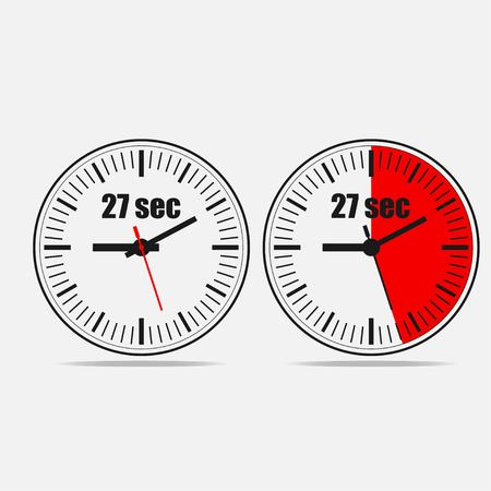 Twenty seven Seconds Clock on gray background. Two options.