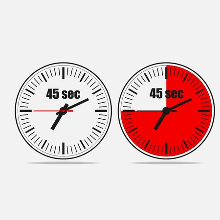Fourty Five Seconds Clock on gray background. Two options.
