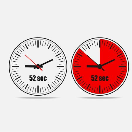 Fifty Two Seconds Clock on gray background. Two options.