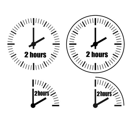 Two Hours Clock on white background. Two o'clock. Four options.