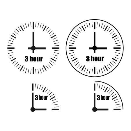 Three Hours Clock on white background. Three oclock. Four options.