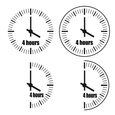 Four Hours Clock on white background. Four o'clock. Four options.