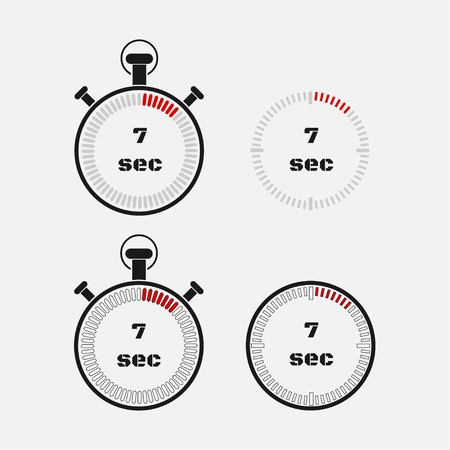 Timer 7 seconds on gray background . Stopwatch icon set. Timer icon. Time check. Seconds timer, seconds counter. Timing device. Four options. vector. Vettoriali