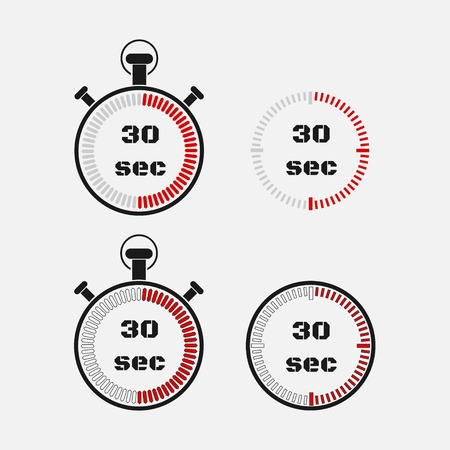 Timer 30 seconds on gray background . Stopwatch icon set. Timer icon. Time check. Seconds timer, seconds counter. Timing device. Four options.  vector.