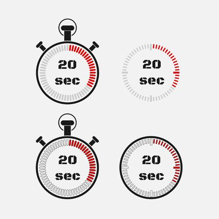Timer 20 seconds on gray background . Stopwatch icon set. Timer icon. Time check. Seconds timer, seconds counter. Timing device. Four options. vector.