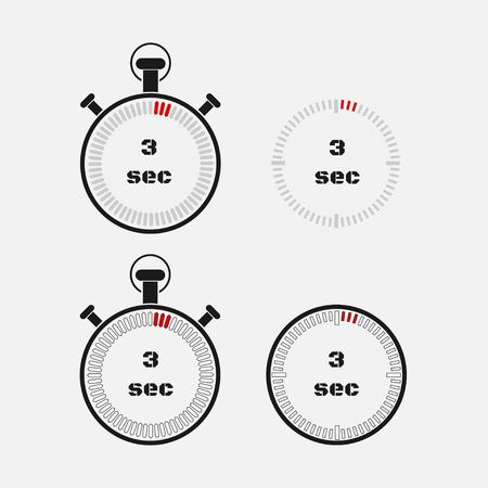 Timer 3 seconds on gray background . Stopwatch icon set. Timer icon. Time check. Seconds timer, seconds counter. Timing device. Four options. vector. Ilustração