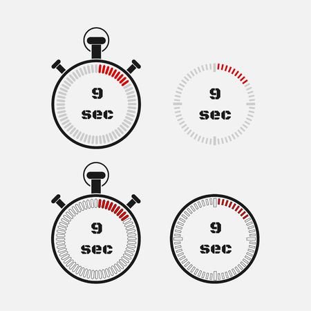 Timer 9 seconds on gray background . Stopwatch icon set. Timer icon. Time check. Seconds timer, seconds counter. Timing device. Four options. vector.