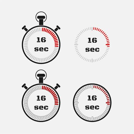 Timer 16 seconds on gray background . Stopwatch icon set. Timer icon. Time check. Seconds timer, seconds counter. Timing device. Four options. vector.