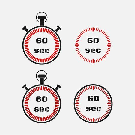 Timer 60 seconds on gray background . Stopwatch icon set. Timer icon. Time check. Seconds timer, seconds counter. Timing device. Four options. vector.