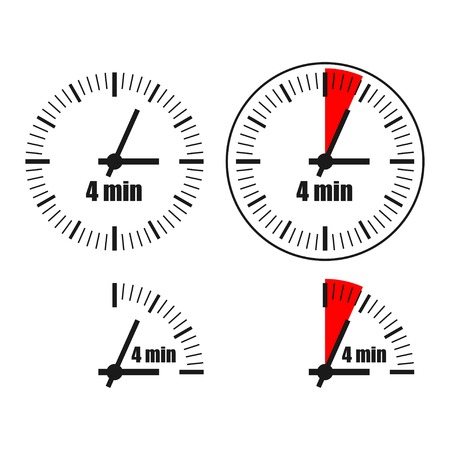 Four Minutes Clock on white background. Four options.
