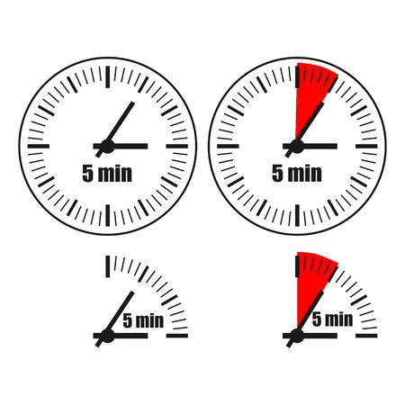 Five Minutes Clock on white background. Four options.