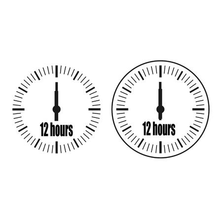 Twelve Hours Clock on white background. Twelve o'clock. Two options.