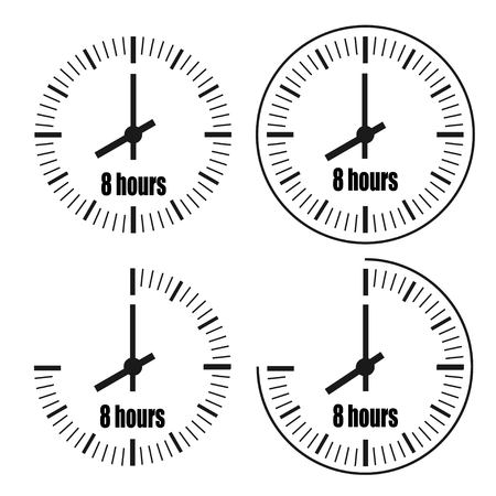 Eight Hours Clock on white background. Eight o'clock. Four options. Иллюстрация