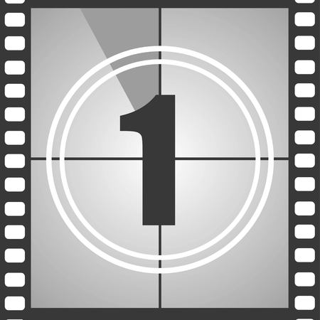 Number 1 from old movie count down one . Film countdown number. Vector illustration EPS 10.